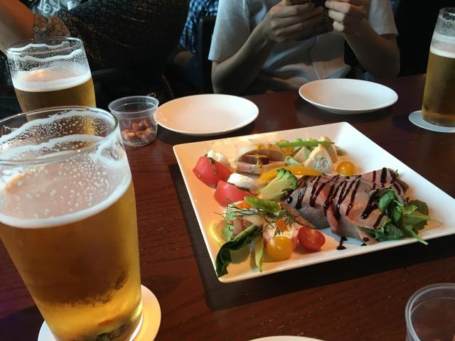 ビールと前菜の盛り合わせ