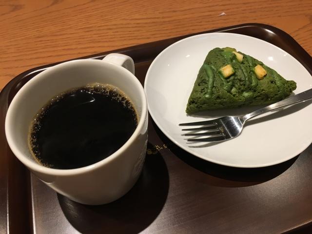 ドリップコーヒーと抹茶スコーン