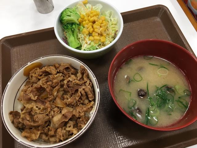牛丼ミニ・サラダしじみセット