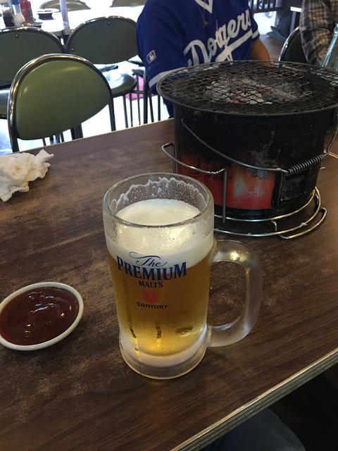 生ビールに七輪