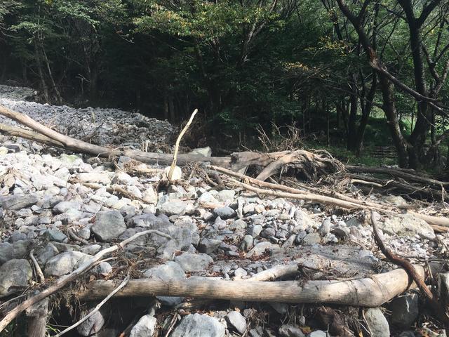 土砂崩れの跡