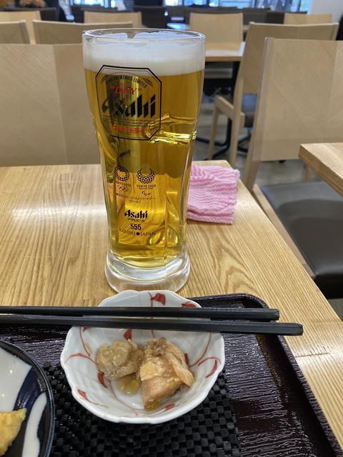 生ビールとサービスのアラ煮
