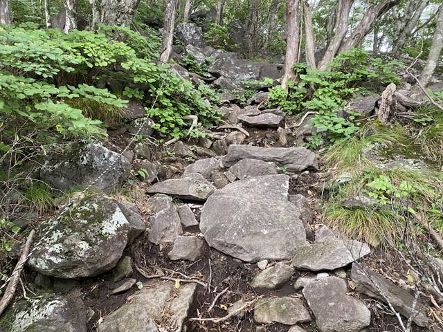 岩場の急登始まり
