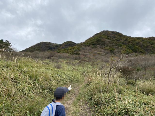 鍋割高原から望む山頂