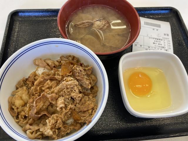 牛丼(並)朝牛セット(あさり汁)